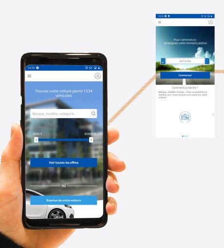 Le client identifie son véhicule grâce à l'application