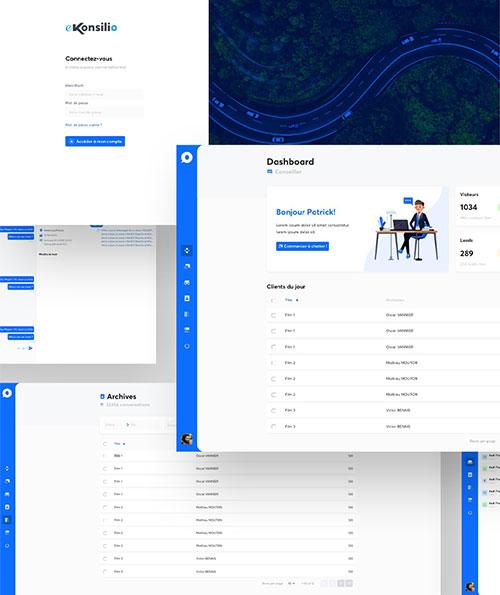 Interface du logiciel de gestion de leads Ekonsilio