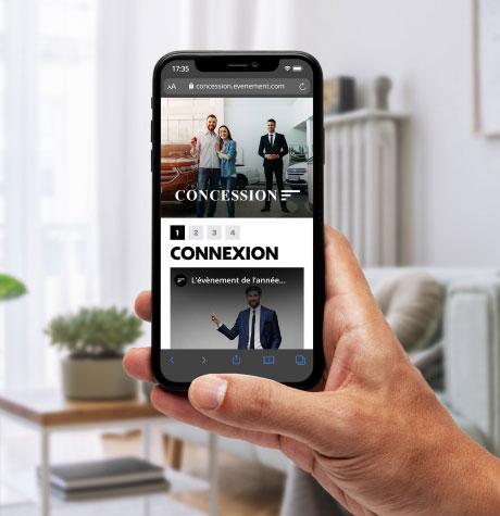 Page web mobile pour invitation par vidéo