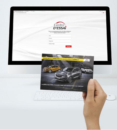 Invitation papier et landing page d'inscription au Centre d'Essai Driving