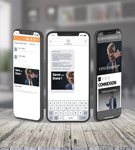 Trois interface mobile sms mms et landing page d'invitation digitale