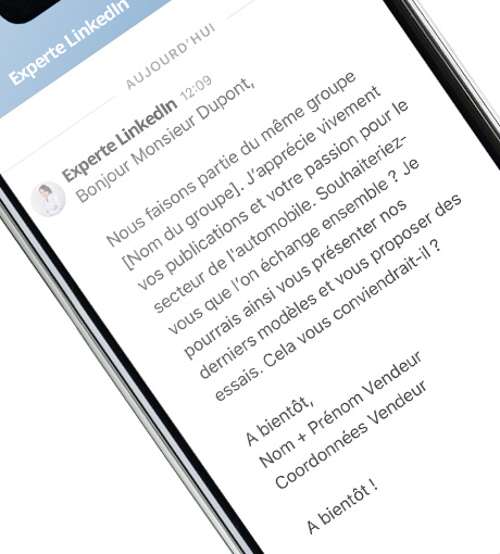 Téléphone contenant un message de prospection type