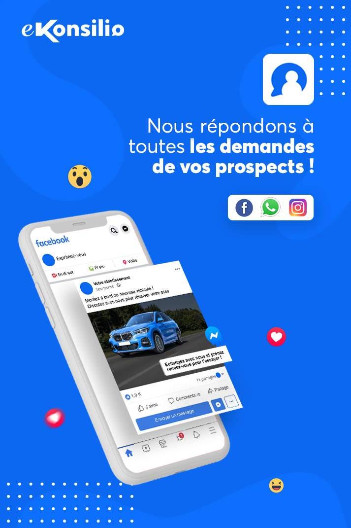 Interface mobile Facebook avec la publication sponsorisée d'un véhicule