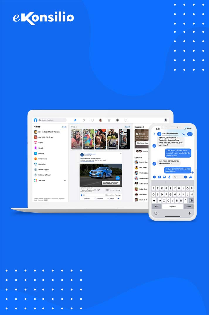 Interface web de Facebook et interface mobile de Messenger