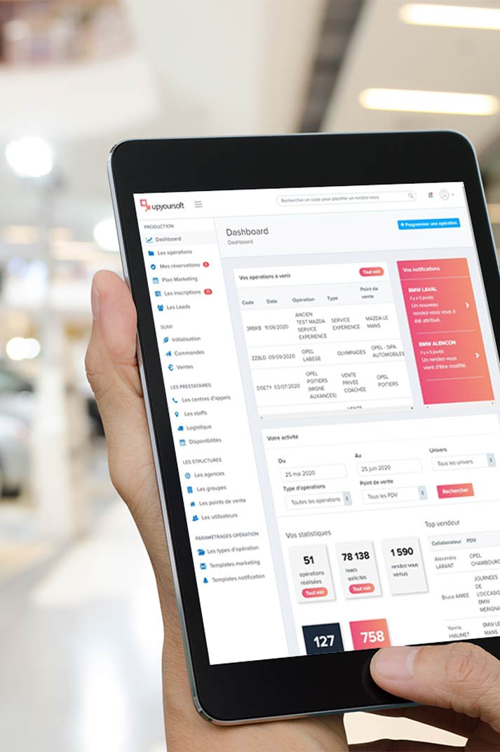 Dashboard du logiciel UpYourSoft sur tablette