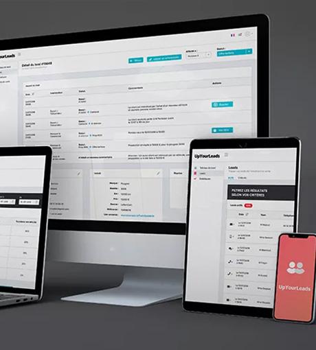 Interface du logiciel de gestion des leads, appelé UpYourLeads