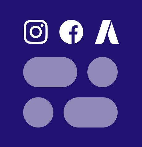 Logo d'Instagram, Facebook et AdWords